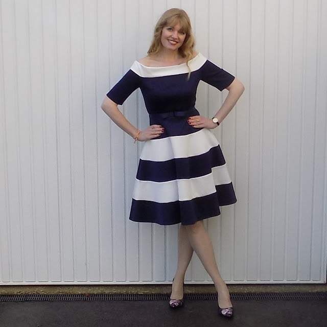 Navy and white striped prom dress by Kaleidoscope