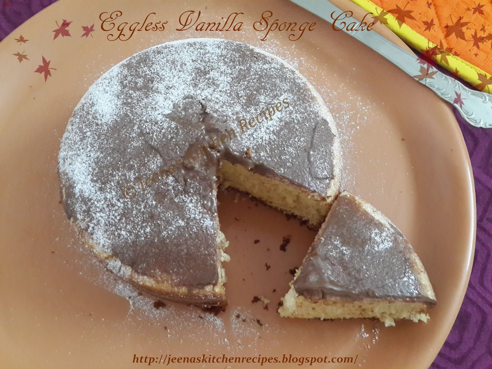 Basic Cake Recipe In Pressure Cooker: Jeenas Kitchen Recipes: Eggless Vanilla Sponge Cake In