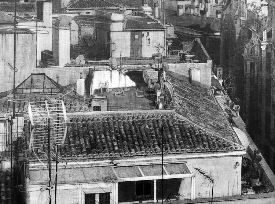 09-Madrid-rooftops-Detail-Fausto-Martin-Realistic-Black-and-White-Pencil-Drawings-www-designstack-co