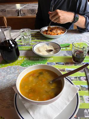 Lunch of minestrone and pasta at Rifugio Calvi.