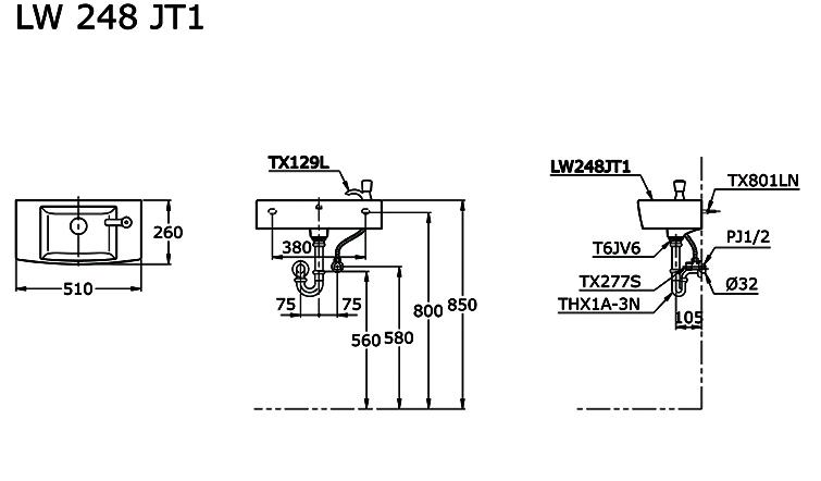 Ukuran Wastafel TOTO LW248JT1