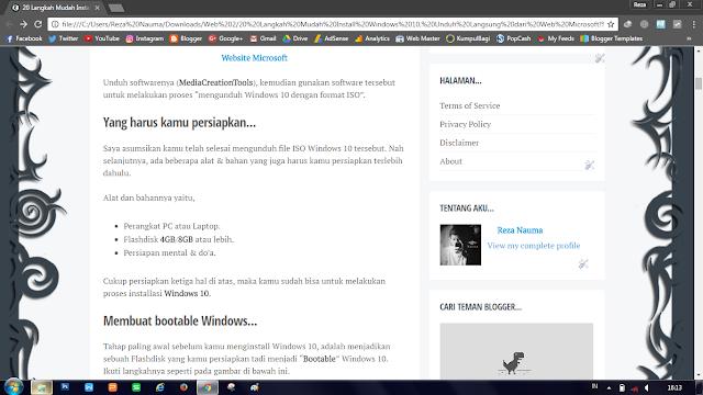 Tampilan Halaman Blog Milik Admin - Reza Nauma