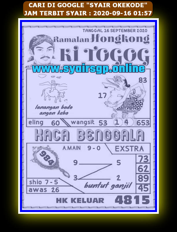 Kode syair Hongkong Rabu 16 September 2020 253