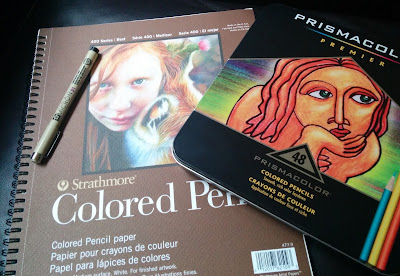 Strathmore colored pencil sketchbook with Prismacolor 48 colored pencil set and Sakura Pigma Micron pen