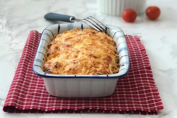 Pastel de patata con atún gratinado