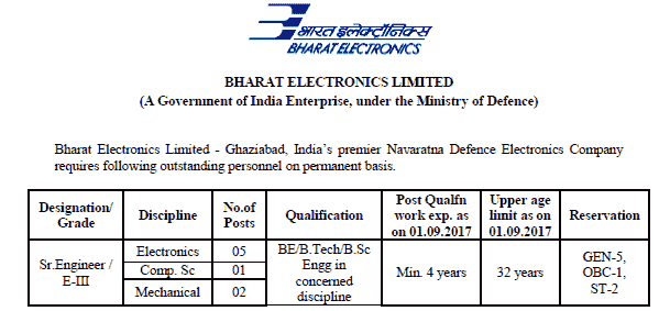 Bharat Electronics Recruitment 2017 Apply Sr. Engineer/E-III Posts