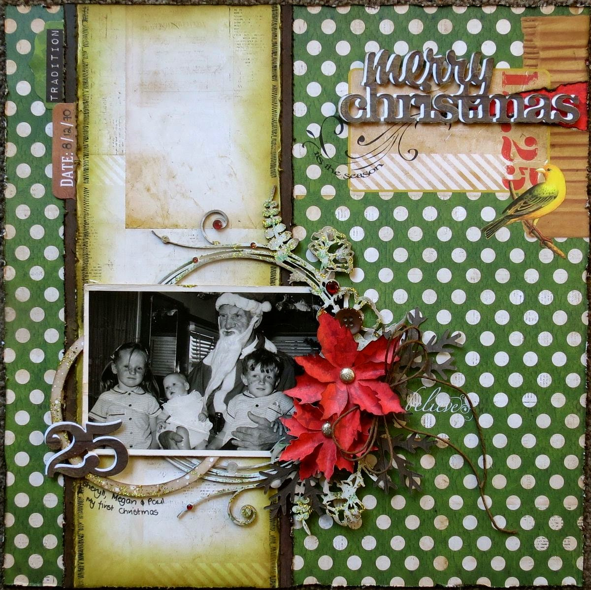 Merry Christmas Scrapbook Page by Megan Gourlay using BoBunny Christmas Collage