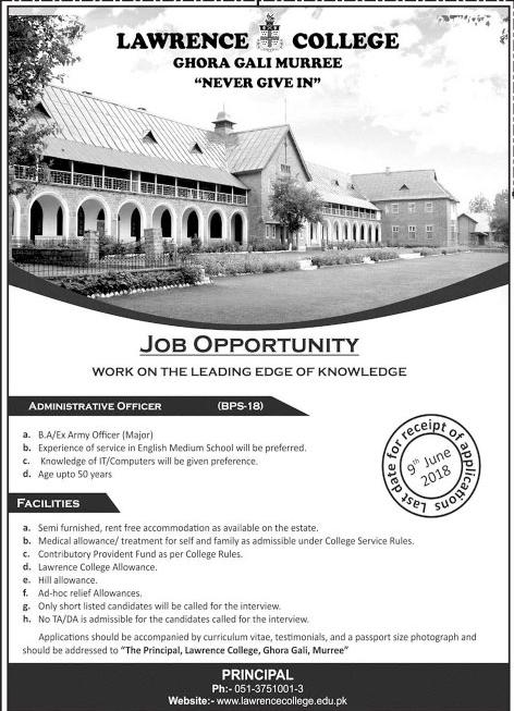 Latest Jobs in Murree under Lawrence College Ghora Gali