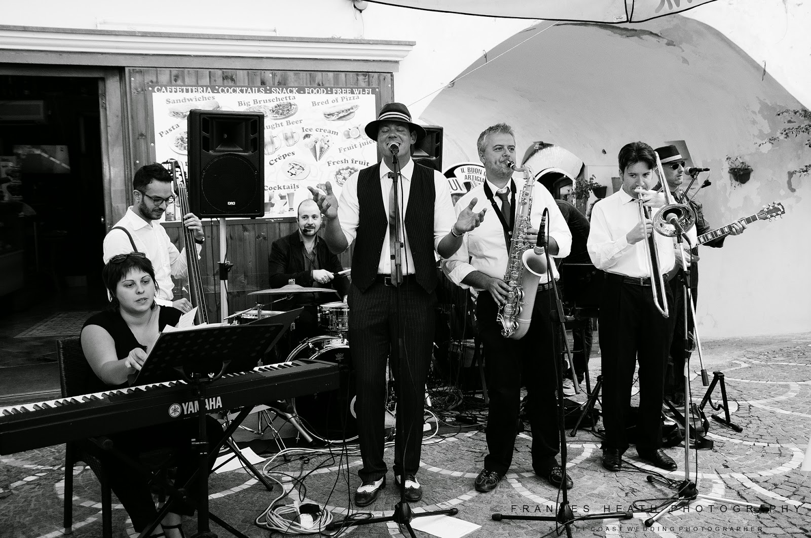 Italian swing band playing music on the Amalfi Coast