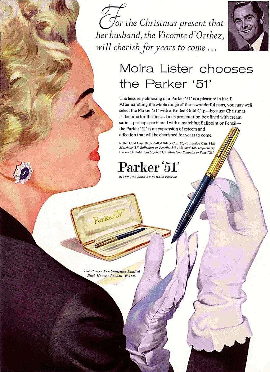A 1957 Parker 51 fountain pen color advertisement illustration