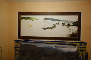 landscape painting Mural Tuscany Italy, art, fake window