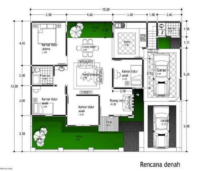 denah rumah ukuran 13x15 kreatif