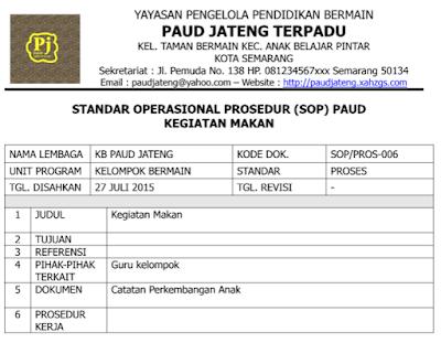 Contoh SOP Kegiatan Makan Anak PAUD Kurikulum 2013 Terbaru