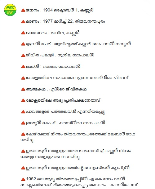 A K Gopalan aka AKG Leader of Renaissance in Kerala GK Questions
