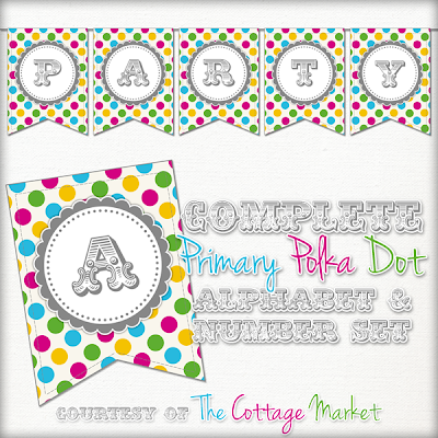 This printable polka dot banner set is great for any party.