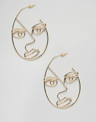 I've seen a growing trend for faces in jewellery and especially with earrings. There is something very artistic about these pieces and the whimsical expressions that you see on each piece. I particularly like the ladylike faces with the extra long eyelashes and fuller lips. The ASOS design eye hoop earrings are a little bit easier to wear if you want to embrace this trend without wearing a whole face.