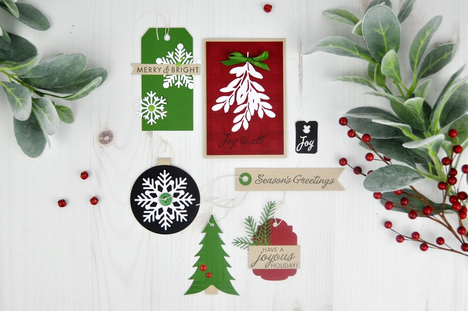 Die Cut and Stamped Christmas Tags