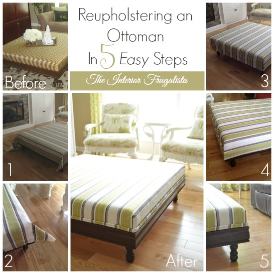 DIY Upholstered Ottoman with these five easy steps