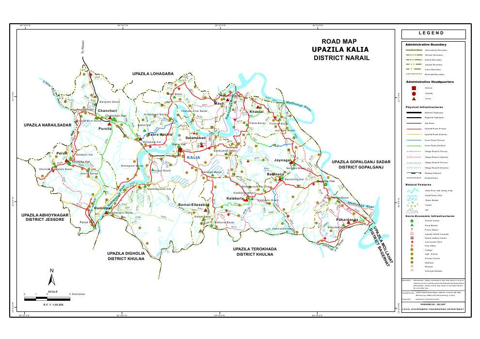 Kalia Upazila Road Map Narail District Bangladesh