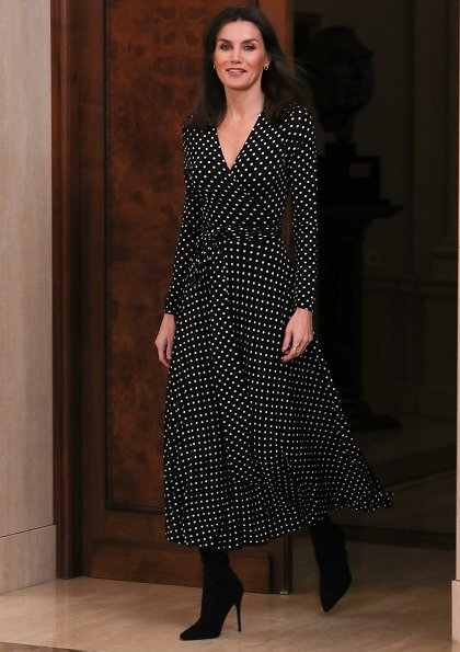 Queen Letizia wore Zara long sleeve polka dot maxi dress and Steve Madden boots. Karen Hallam earings. Tokyo 2020 Olympic Games