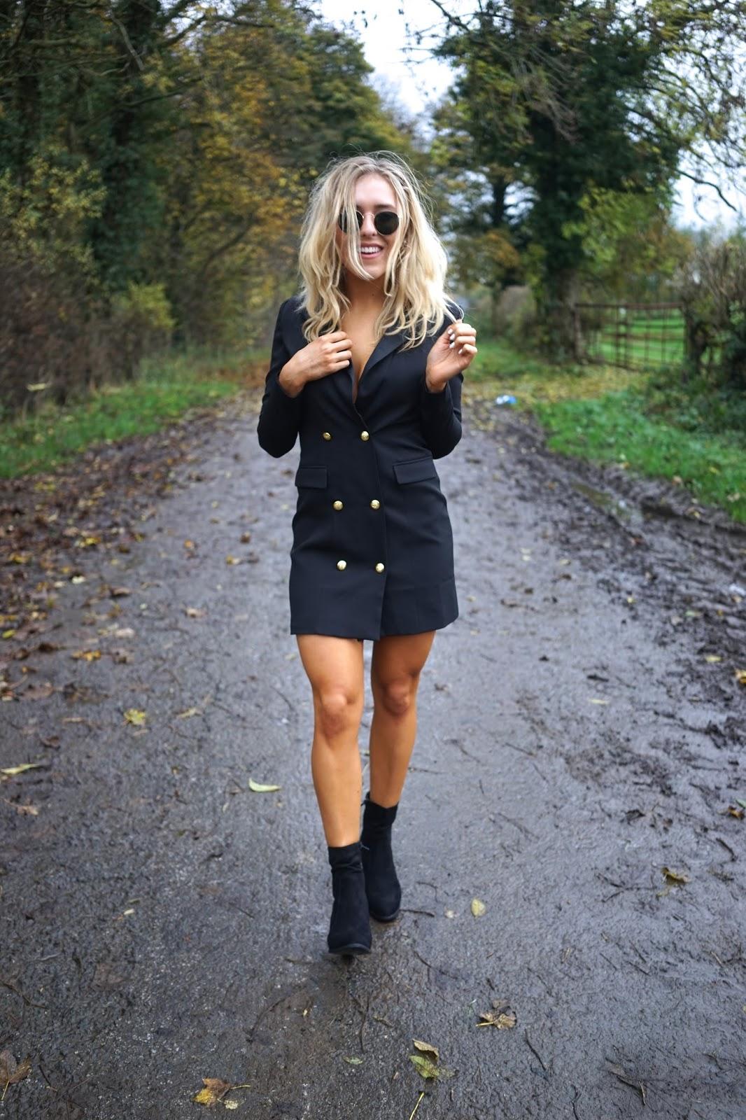 missguided navy tux blazer dress