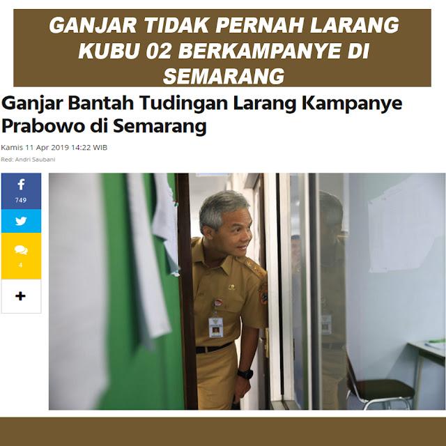 Ganjar Bantah Tudingan Larang Kampanye Prabowo di Semarang