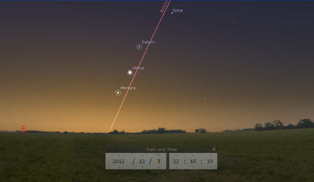 """Mercury, Saturn And Venus Aligned On 3 December 2012 With ..."