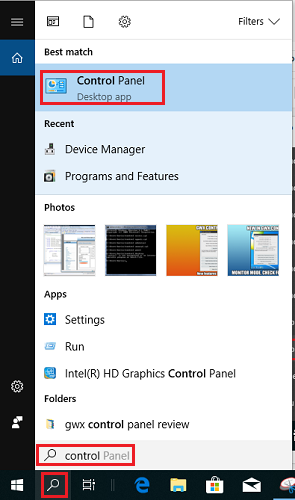 windows 10 control panel start menu