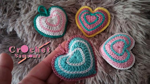 كروشيه قلب مجسم . كروشيه قلب . كروشيه قلب .  Valentine's day .   Saint Valentin . كروشيه قلب   Saint Valentin .  Crochet heart  .  How to crochet a heart