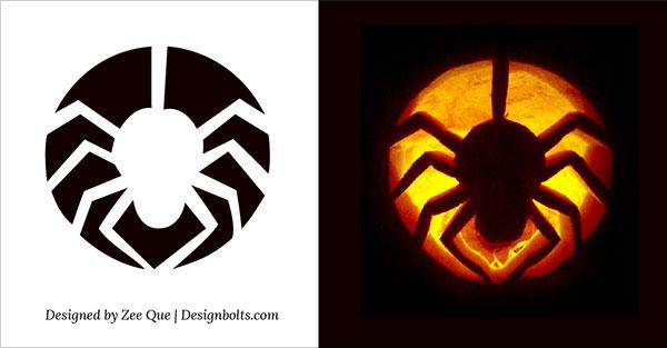 Free printable Spider halloween pumpkin carving pattern designs