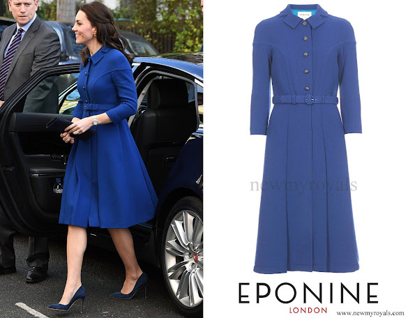Kate Middleton wore EPONINE Belted Blue Coat