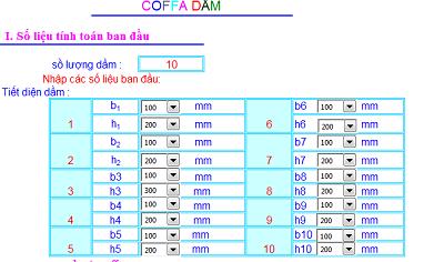 File excel tính coffa Dầm - Sàn mái - Cột