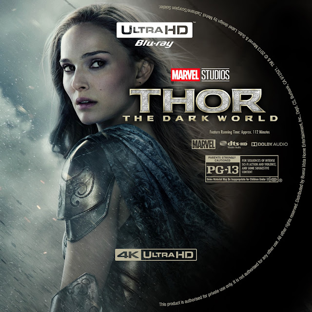 Thor The Dark World 4K Bluray Label