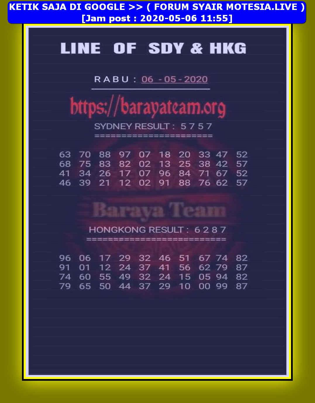 Kode syair Hongkong Rabu 6 Mei 2020 109