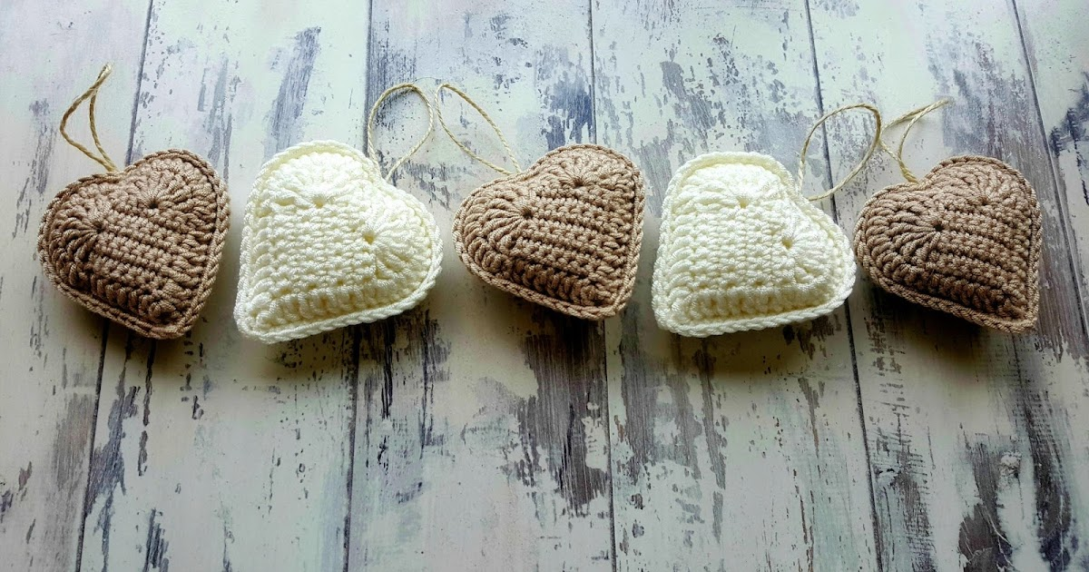 Leasowes View: Rustic Crochet Hanging Hearts