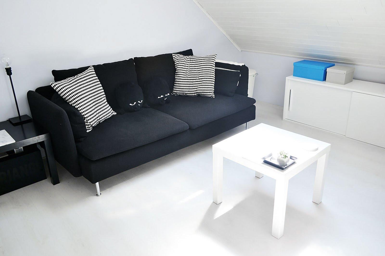 IKEA soderhamn, black cover, ikea lack table white, monkis, animals, black sofa,