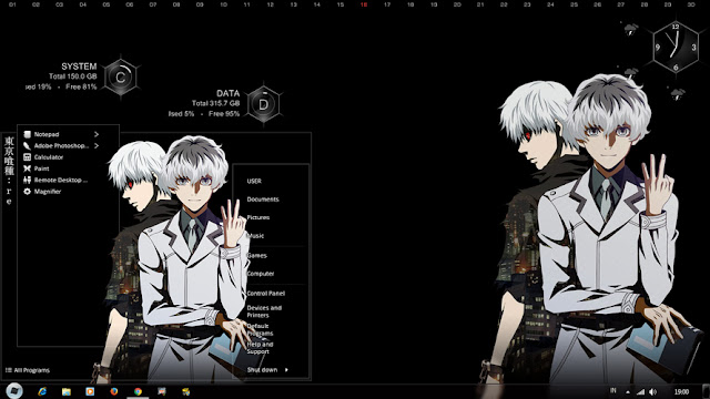 Windows 7 Theme Tokyo Ghoul:re by Bashkara