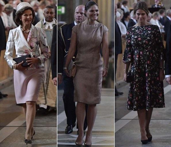 Crown Princess Victoria wore Fadi El Khoury dress and Princess Madeleine wore ERDEM Aleena floral print matelasse dress