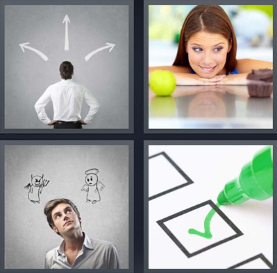4 Fotos 1 Palabra Tick Verde Hombre Pensando Mujer Pensando Encuesta