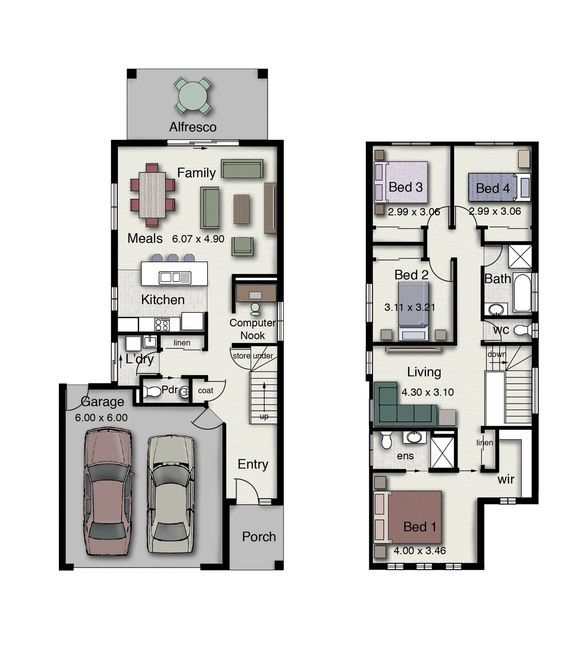 Duplex 4 Bedrooms clever design suitable for narrow blocks of land