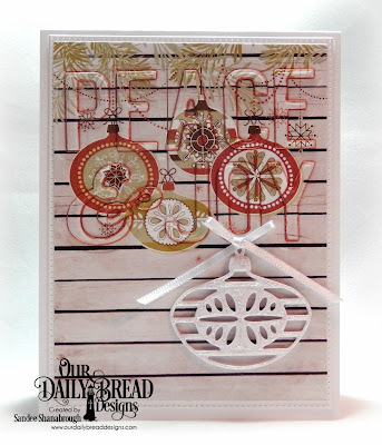Our Daily Bread Designs Custom Dies: Peace & Joy, Retro Ornaments, Pierced Rectangles, Paper Collection: Retro Christmas