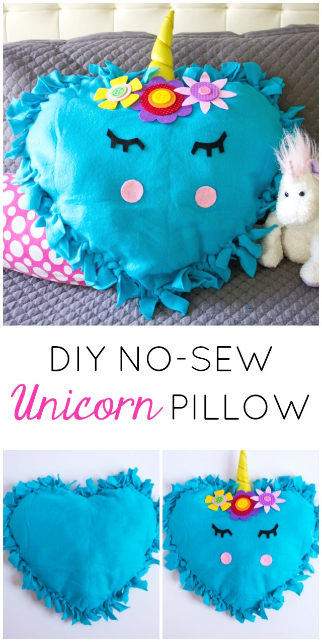 These no-sew unicorn pillows are the perfect kids craft! #unicornpillow #unicorndecor #nosewpillow #unicorncraft