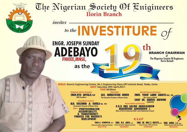 For NSE Ilorin Branch, it is a New Era as Engr Adebayo Joseph Set to Assume The Leadership Mantle. Don't Miss it!