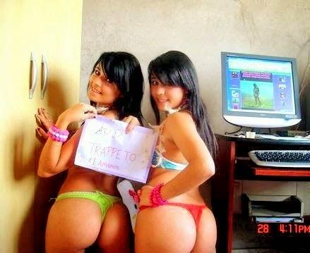 Hermanas gemelas primos besos desnudos