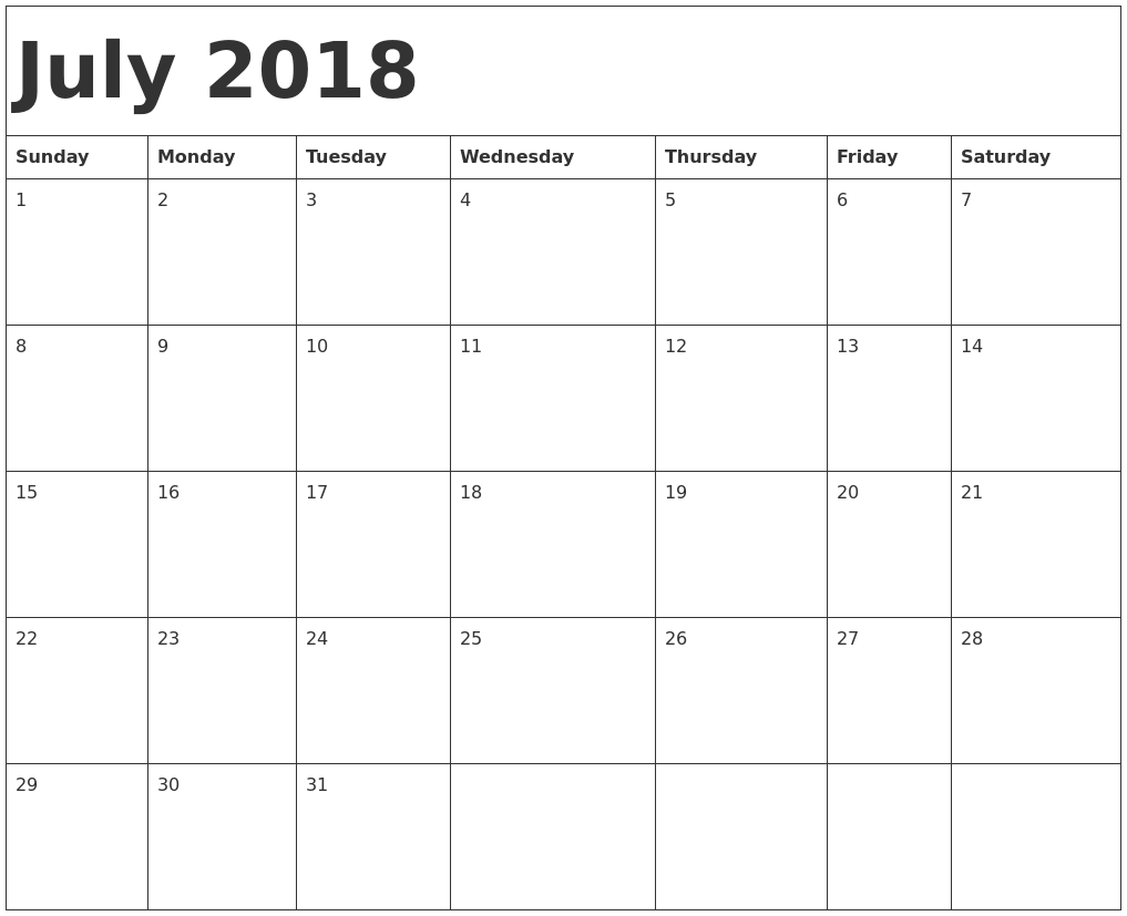 July 2018 Monthly Calendar Printable Templates - Printable Calendar 2018