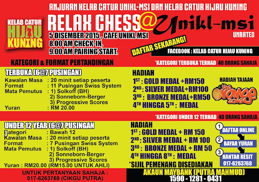 RELAC CHESS @ UNIKL-MSI KULIM 5 DECEMBER 2015..JOM!