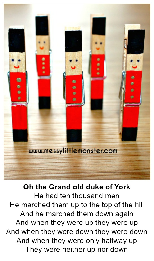 The Grand Old Duke of York nursery rhyme soldier craft for toddlers and preschoolers