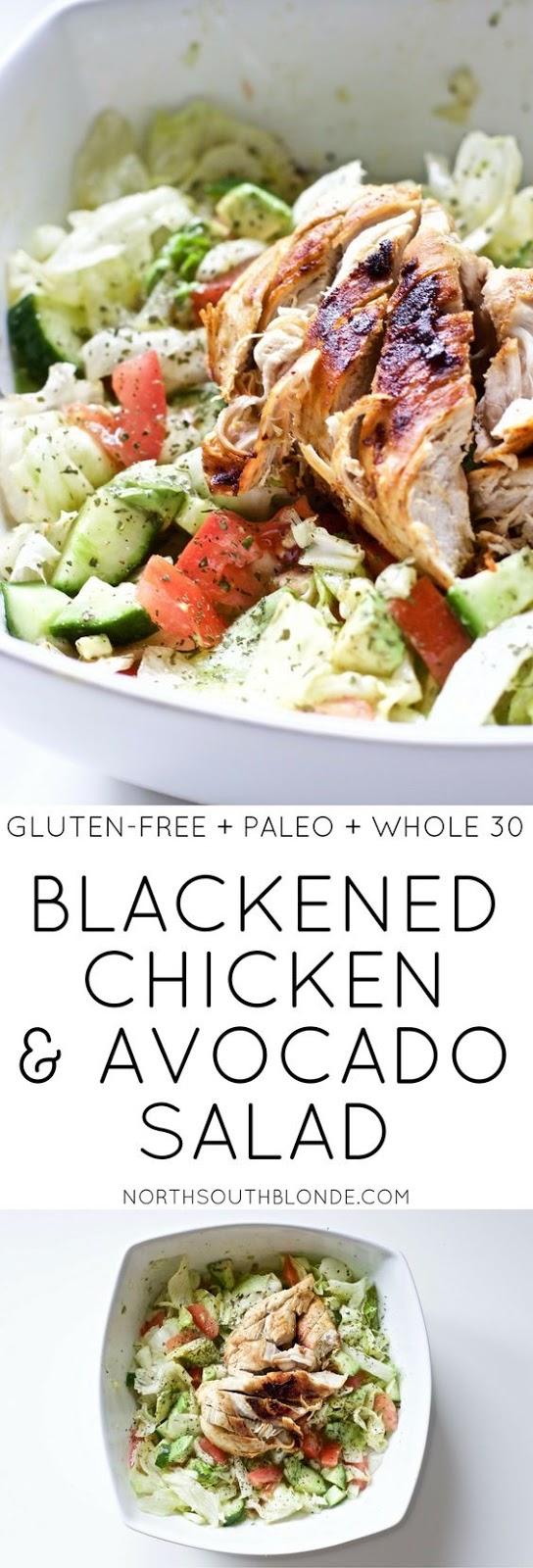 Blackened Chicken and avocado Salad (Gluten-Free, Paleo, Whole 30) #blackenedchicken #avocadosalad #salad #avocado #lunchideas #easyrecipes