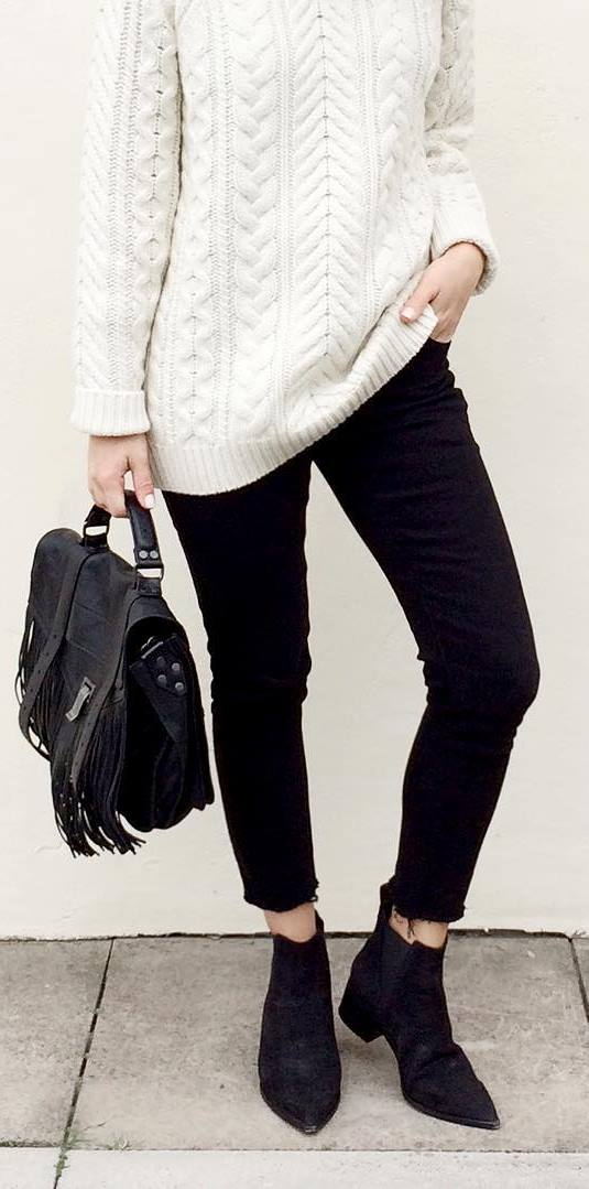 fall outfit: white knit + black jeans + bag + boots