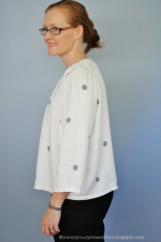 Burda_11_2014_#105_pleat_neck_top_polka_dots